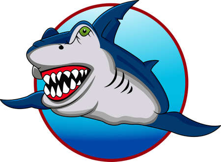 funny shark cartoon Vector