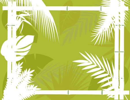 Tropical Background with Bamboo Frame Stock Vector - 12544932