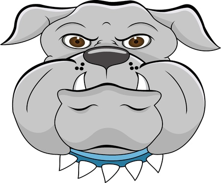 neckband: bulldog head cartoon
