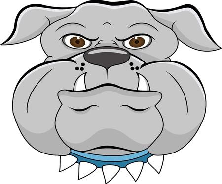 raging: bulldog head cartoon