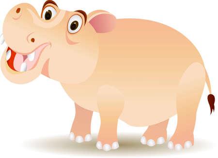 funny hippo cartoon Vector