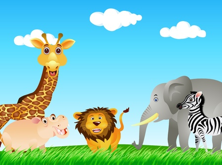 large group of animals: funny animal collection