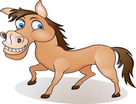 horse tail: Caballo de dibujos animados divertidos Vectores