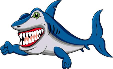 historieta divertida del tiburón Ilustración de vector