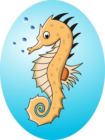 funny cartoon sea horse Vector