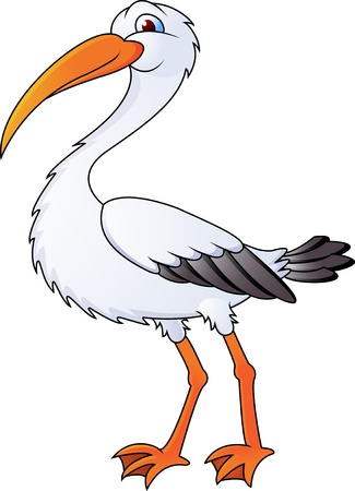 funny stork cartoon Vector