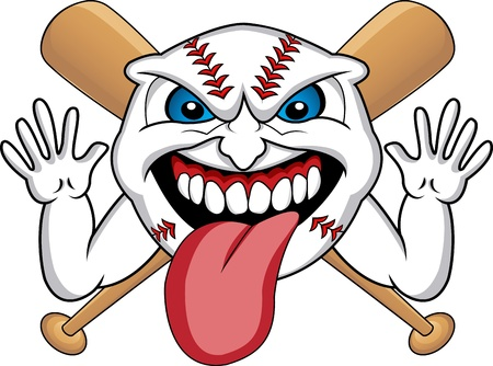 Baseball Face Cartoon  Vector