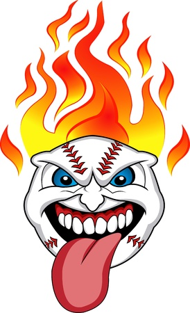 Flaming Baseball Ball Face Vector