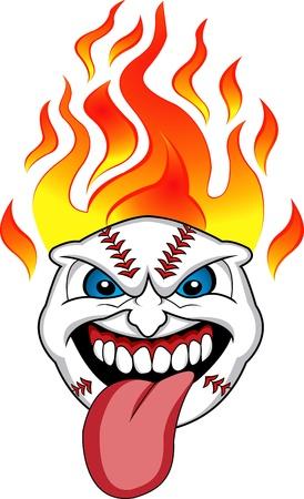 fastpitch: Flaming Baseball Ball Face Illustration