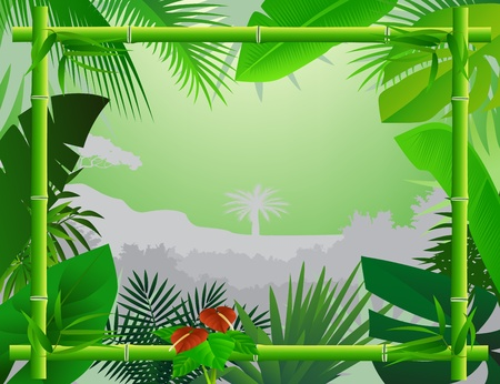 bamboo plant: Tropical Background with Bamboo Frame Illustration