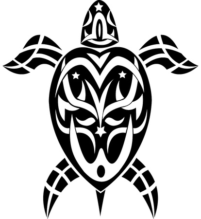 maorie: tortue tatouage tribal Illustration