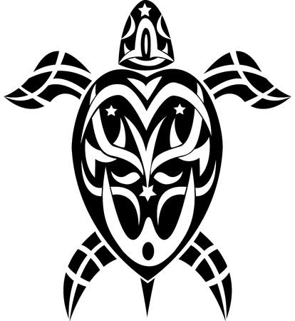 tortuga tatuaje tribal Ilustración de vector