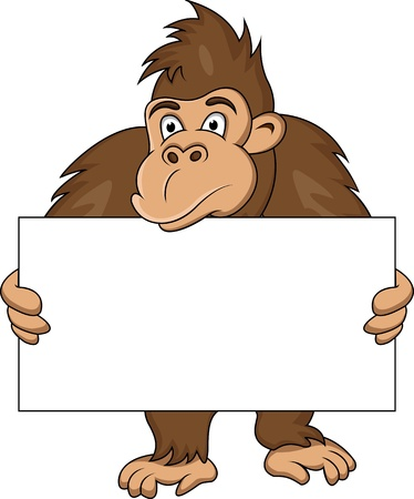 animal border: gorilla with blank sign Illustration