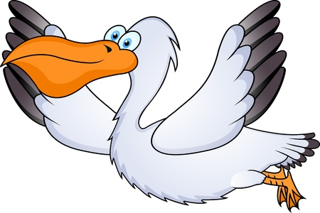 Pelican: pelican in flight Illustration