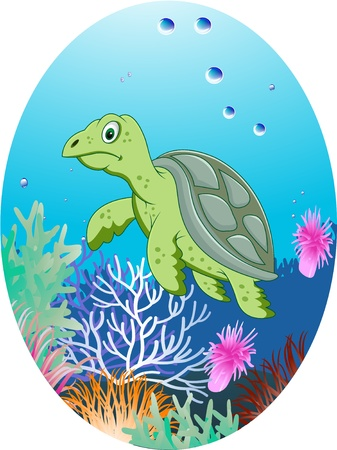 turtle in underwater Vector