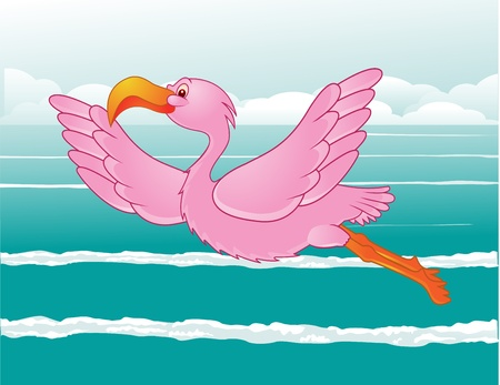 flamingo in flight Vector
