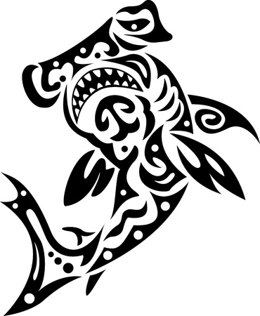 shark in tribal Vector
