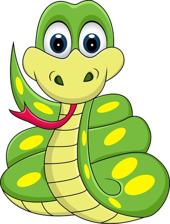 funny snake cartoon Vector