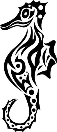 caballo de mar: caballito de mar tribales Vectores