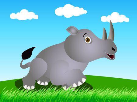 rhino in the wild Illustration