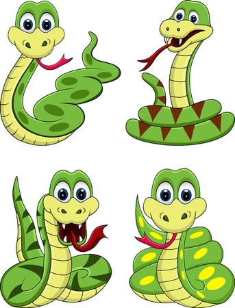 venomous snake: funny snake collection Illustration