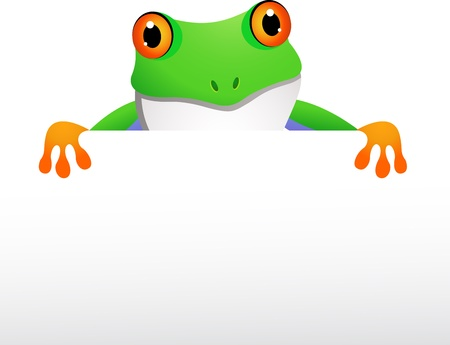 frog with blank sign Stock Vector - 14288178