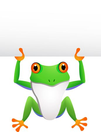 frog with blank sign Stock Vector - 14288208