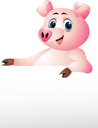 contagious: pig with blank sign Illustration