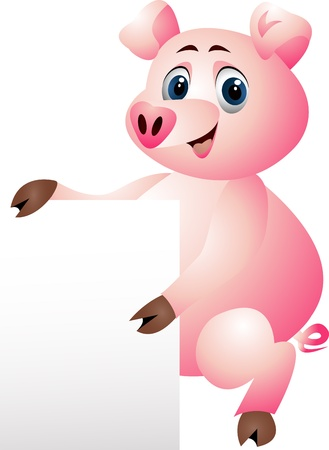 pig with blank sign Stock Vector - 14288164