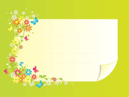 spring message: Spring Flowers Frame - A beautiful frame in spring theme with colorful flowers and butterflies. A note graphic with horizontal lines to write a text message.