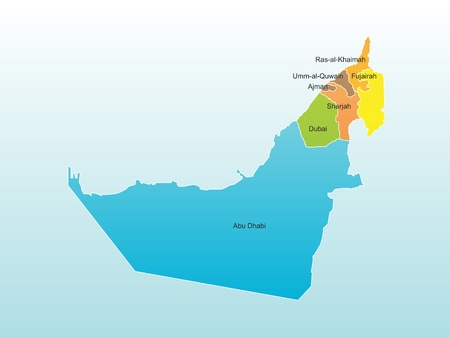 middleeast: UAE Map with all seven states Illustration