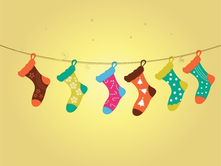 stocking: Christmas stockings with festive little Christmas icons of cand, snowflake, star and Christmas tree