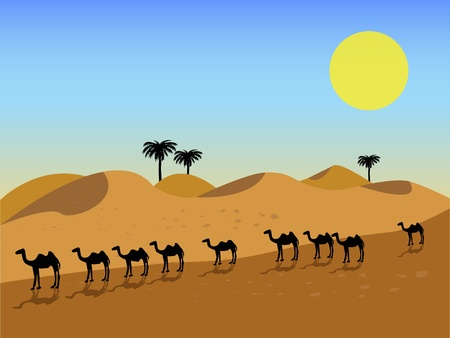 The desert of United Arab Emirates (UAE) with date trees, sand dunes and a Camel caravan traveling through it Stock Vector - 11637569
