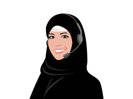 middleeast: Arab customer services woman with a headset