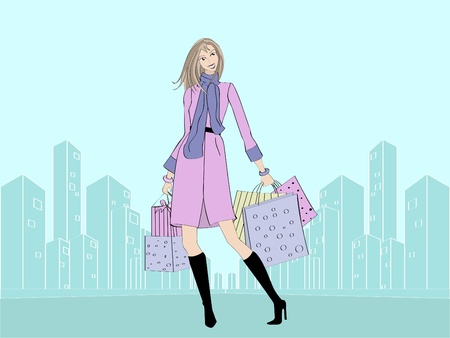 Trendy girl with shopping bags and gift Stock Vector - 11808664