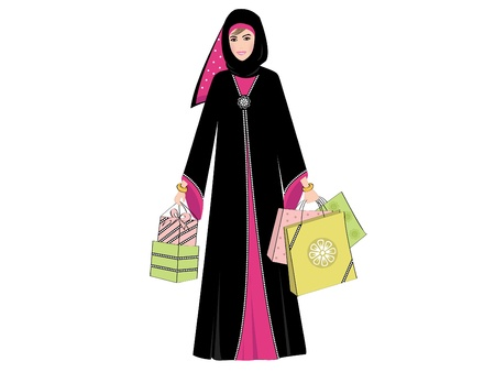 muslim fashion: Arab Woman Shopping - Arab woman wearing a traditional black Arabic dress 'Abaya' with bright pink flower and pattern detail; holding several colorful shopping bags and gifts.