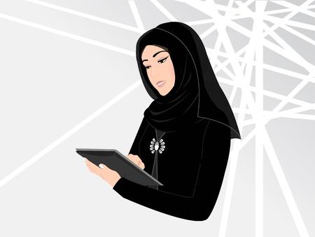 Una tecnología inteligente mujer joven árabe llevaba vestido negro tradicional árabe con el velo islámico de trabajo ocupada en un dispositivo portátil (un iPad). El fondo sugiere ritmo tecnología, el futuro y rápido, también una construcción moderna, es decir un edificio de oficinas.
