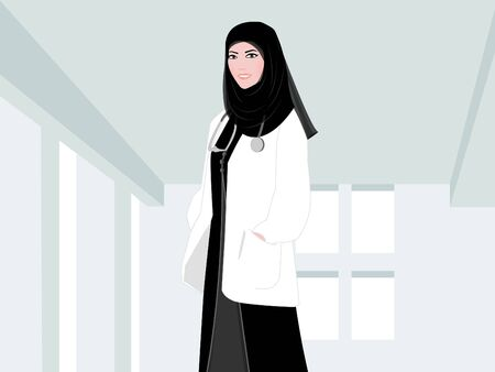 Arab Female Doctor - An Arab Female doctor is standing in a hospital corridor wearing a white lab coat, her traditional black Arabic dress underneath and a head scarf. The stethoscope is around doctor's neck.