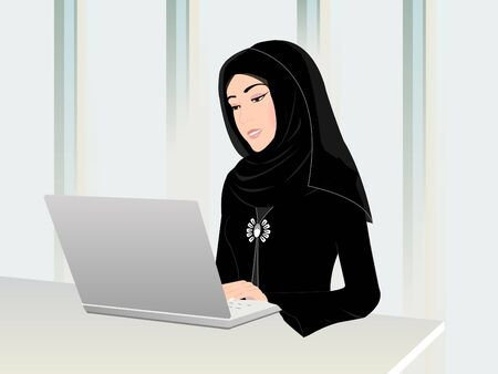 woman in scarf: Arab Woman with Computer - Arab woman working on a computer in an office wearing her traditional black Arabic dress and a head scarf