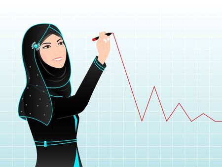 head scarf: Arab Woman Drawing Chart - An Arab woman is drawing chart on a gradient blue grid surface; wearing a traditional black Arabic dress, a pretty head scarf with turquoise lining details and a floral hair accessory.