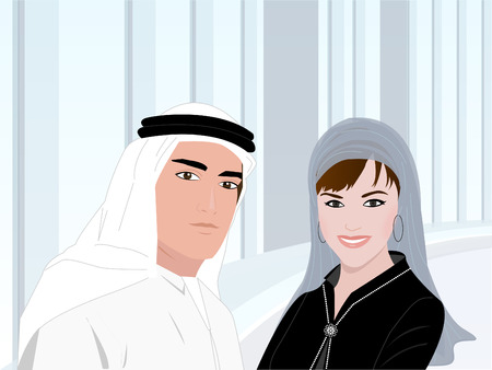 pace: Arab Team Members - A young Arab man and a woman wearing traditional Arabic clothes standing on a background of an office building. This image can be used for subjects like About Us, Our Team and Introduction etc