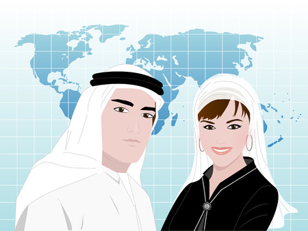 Arabs in Business World - A young Arab man and a woman wearing traditional Arabic clothes standing smiling on a background of world map.