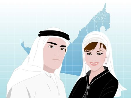 head scarf: Middle East Business - A young Arab man and a woman wearing traditional Arabic clothes standing smiling on a background of UAE map. Illustration