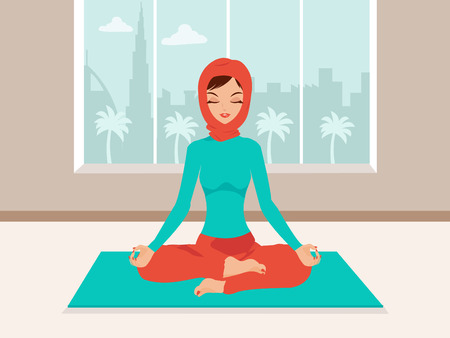 daily life: Muslim woman doing yoga. Drawn in United Arab Emirates Dubai background with its iconic buildings The Tallest Tower