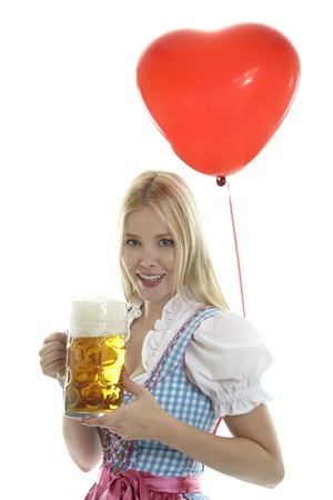 Woman in Dirndl with Balloon photo