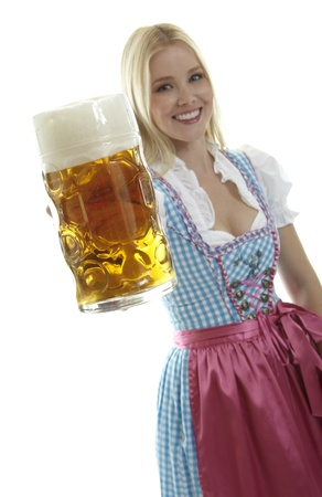 medium shot: Woman with Beer Mug