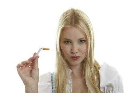 decolette: Woman breaks Cigarette in two pieces