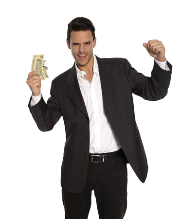 Attractive man in suit with money in his hand Stock Photo