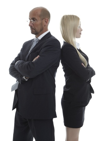 controversy: Business People standing back to back Stock Photo