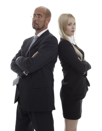 clash: Business People standing back to back Stock Photo